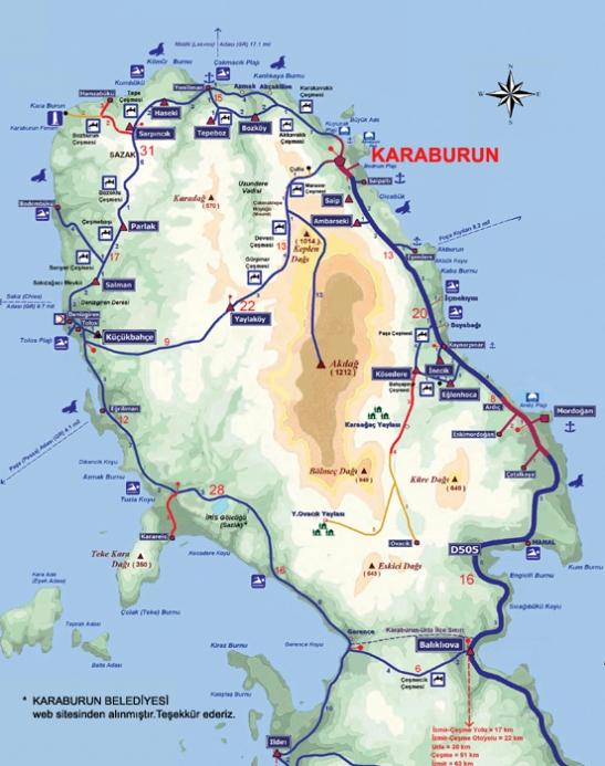 karaburun bisiklet harita